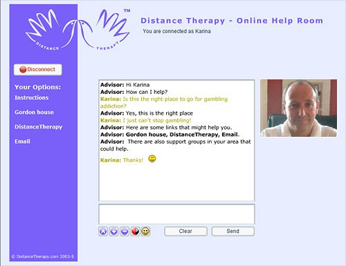 Distance Therapy Help Room: Client's Screen